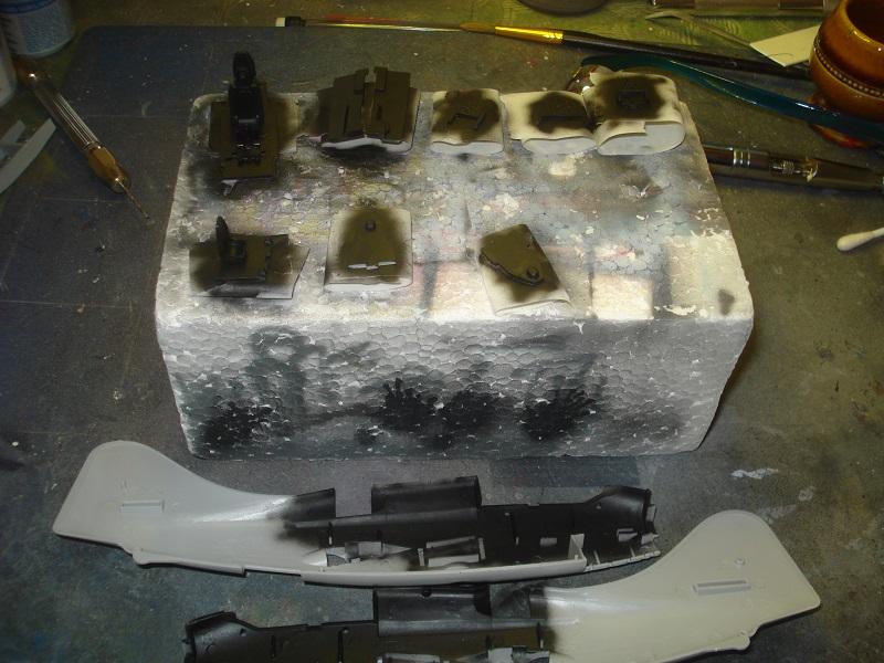Cockpit parts painted black.