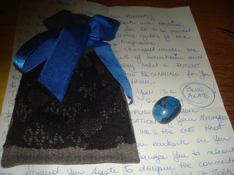 Cards in bag, blue agate and letter