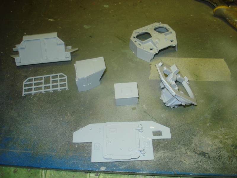 Some pieces sorted and partly assembled.