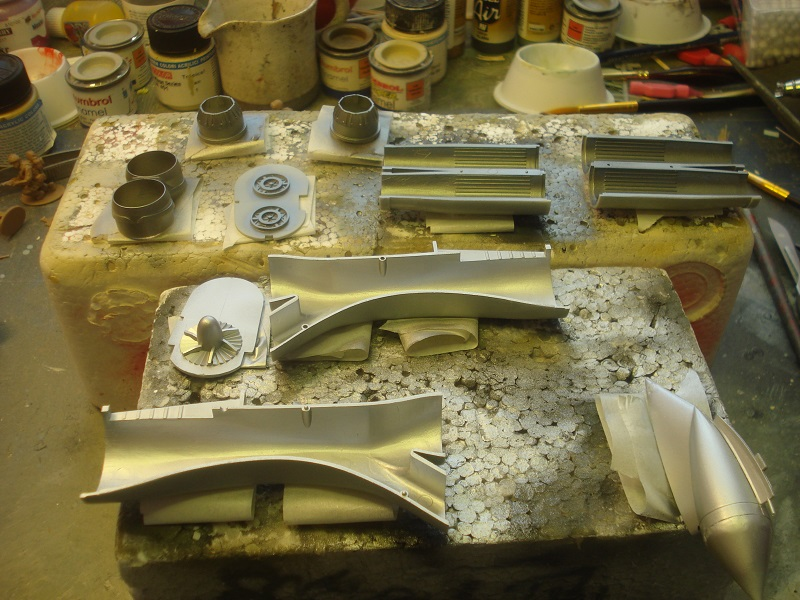 Intake and exhaust parts painted