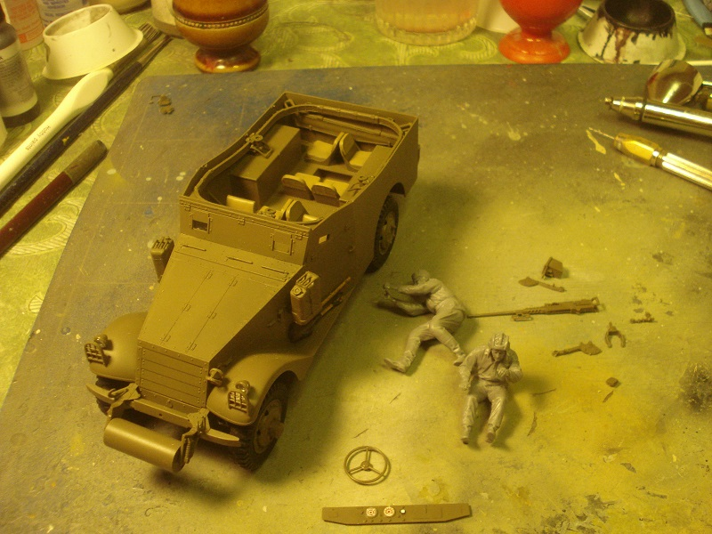 Front lamps and protection glued and two figures assembled.